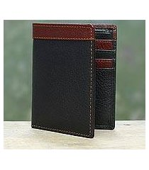 men's leather wallet, 'natural harmony in black' (india)