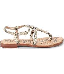 emmett snakeskin-embossed leather thong sandals