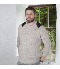fishermans rib sweater with patches beige large
