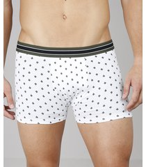 cueca boxer masculina estampada cactos branca
