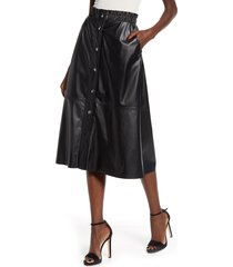 women's blanknyc snap front faux leather midi skirt