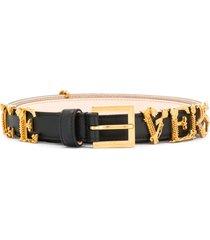 versace logo hardware belt - black