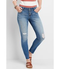 maurices womens denimflex™ medium wash destructed button fly jegging blue