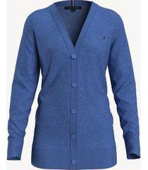 tommy hilfiger essential boyfriend cardigan top water heather - xxl