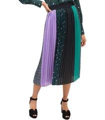 kate spade new york women's print & colorblock pleated midi skirt - black multi - size xxl
