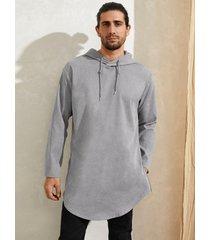 sudadera con capucha de manga larga de pana de color liso para hombre