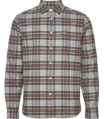 brushed check shirt skjorta casual grå lyle & scott