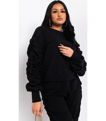 akira all about me long ruched sleeve sweater