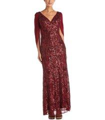 r & m richards sequin drape-back cape gown