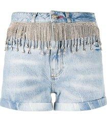 philipp plein crystal fringe denim shorts - blue