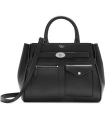 mulberry small bayswater belted leather satchel - black