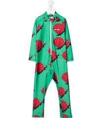 mini rodini shell print jumpsuit - green