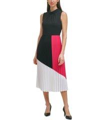 karl lagerfeld paris colorblocked pleated dress