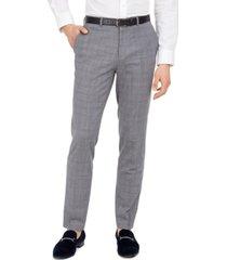 hugo hugo boss men's extra-slim fit mid blue plaid suit separate pants