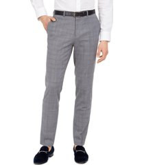 hugo men's skinny-fit mid blue plaid suit pants