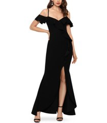 betsy & adam cold-shoulder ruffled scuba gown