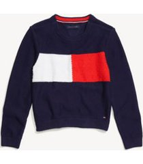tommy hilfiger girl's adaptive flag crewneck sweater evening blue - xl