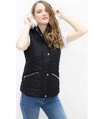 chaleco para mujer en tafetan color-negro-talla-s