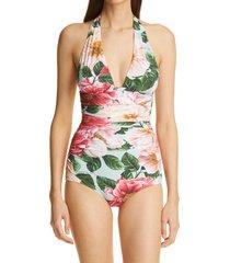 women's dolce & gabbana halter neck one-piece swimsuit, size 1 - blue