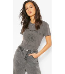 gebleekt moonchild t-shirt met tekst, charcoal