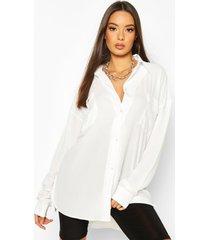 woven pocket detail oversized shirt, ivory