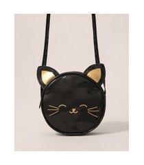 bolsa infantil transversal redonda pequena gatinha com orelhinhas preta