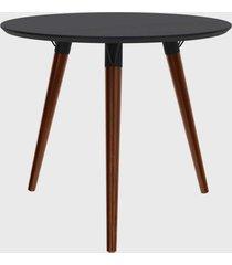 mesa redonda valentinna preto/pé escuro retrô artesano