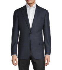 armani collezioni men's wool windowpane jacket - solid dark - size 52 (42) r