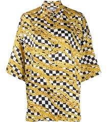 chain print checkered shirt