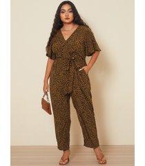 yoins plus talla abrigo de leopardo con cuello de pico diseño mono