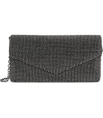 la regale women's glass stone-embellished envelope clutch - black