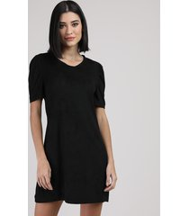 vestido de suede feminino curto manga bufante preto