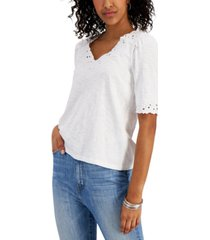 charter club petite crochet-trim cotton top, created for macy's