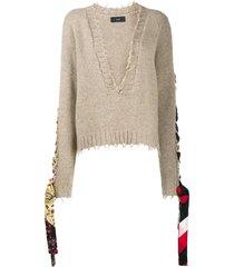 alanui bandana lace-up jumper - brown