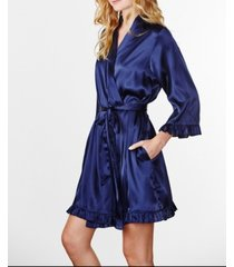 wedding prep gals plus size plain ruffle robe, online only