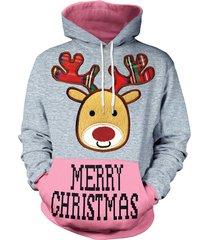 christmas reindeer print long sleeve hoodie