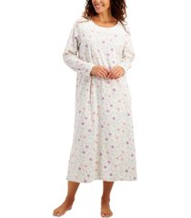 charter club printed fleece long nightgown, created for macy's