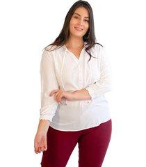 blusa elásticos manga blanco plica