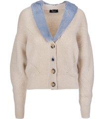 blumarine beige wool cardigan with blue eco-fur