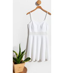 alba crochet trim mini dress - white