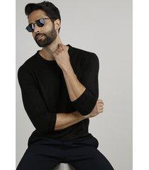suéter masculino em tricô gola careca preto