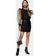 black coated joni stretch denim skirt - black