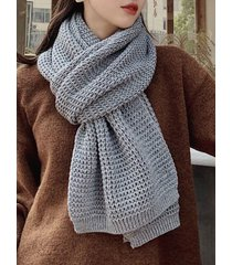 winter knitting solid long scarf