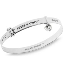 beatrix potter sterling silver peter rabbit heart charm expander bangle bracelet