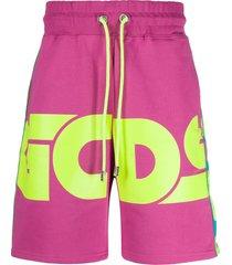 gcds logo print jersey shorts - pink