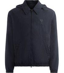 windproof jacket ami de coeur model in black technical fabric