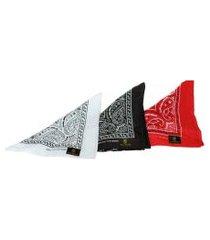 kit bandana rich young branca/preta/vermelho