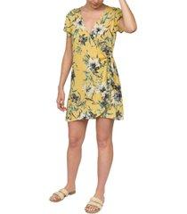 hurley juniors' floral-print wrap dress