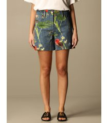 boutique moschino short drill boutique moschino shorts with botanical pattern