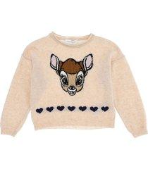 monnalisa beige wool sweater with bamby print